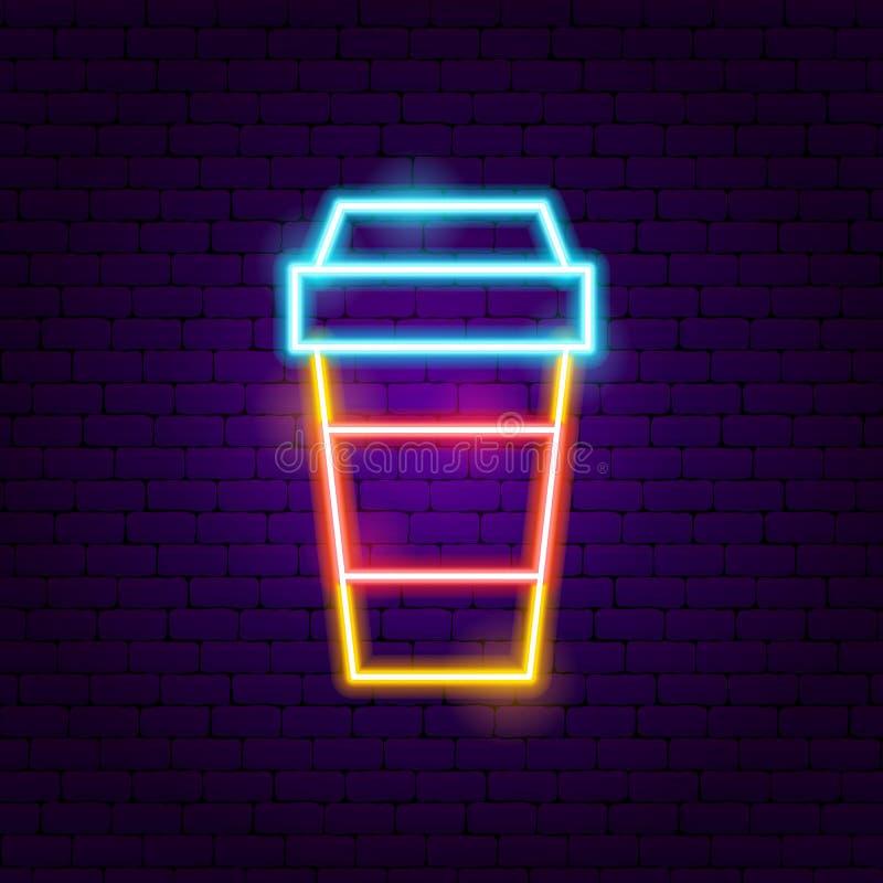 Gorący Kawowy Neonowy znak ilustracja wektor
