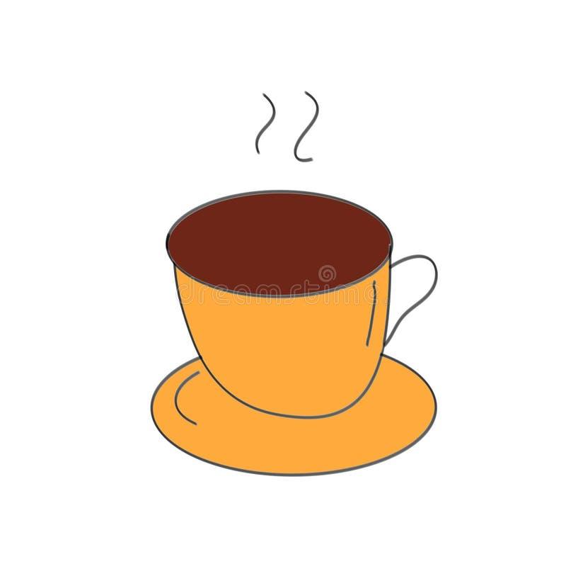 Gorący kawowy rysunek w żółtej filiżance ilustracja wektor