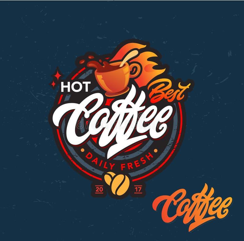 Gorący kawowy wektorowy logo fotografia royalty free