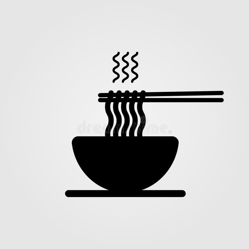 Gorący kluski w puchar ikonie ilustracja wektor