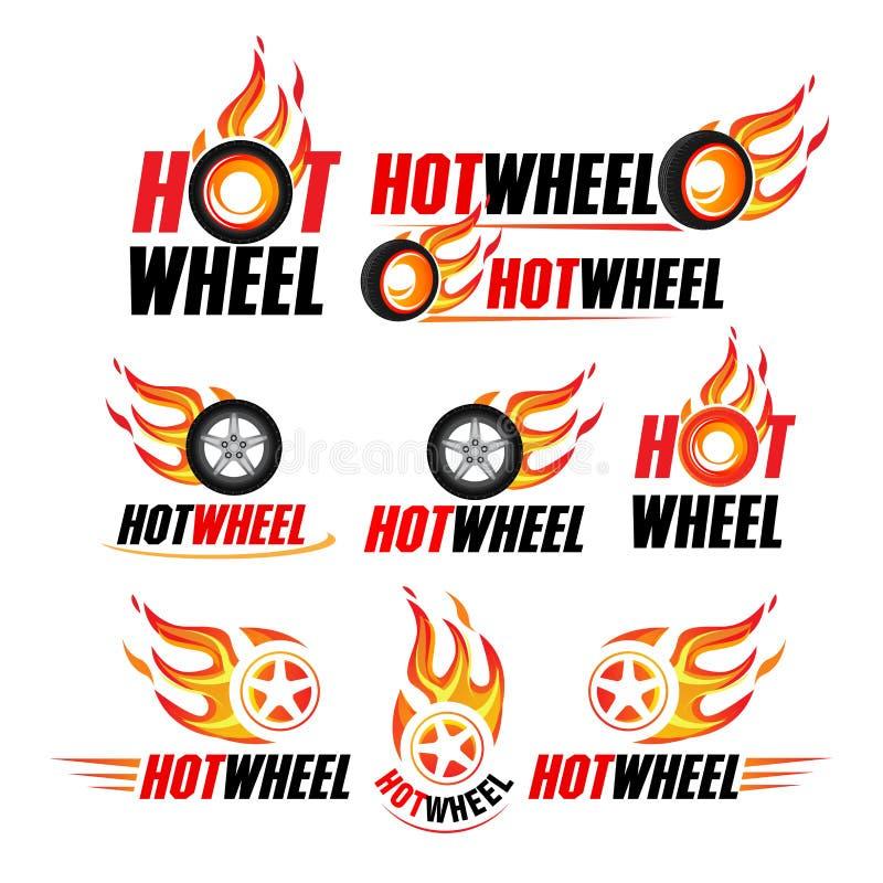 Gorący koło, Bieżne mieszkanie etykietki ustawiać Płonie loga i błyśnie, emblemat, samochodu transport, płomień opona, odosobnion ilustracja wektor