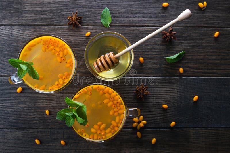 Gorący korzenny napój z dennym buckthorn w szklanych filiżankach z świeżymi surowymi dennego buckthorn jagodami, cynamonowymi kij zdjęcia royalty free