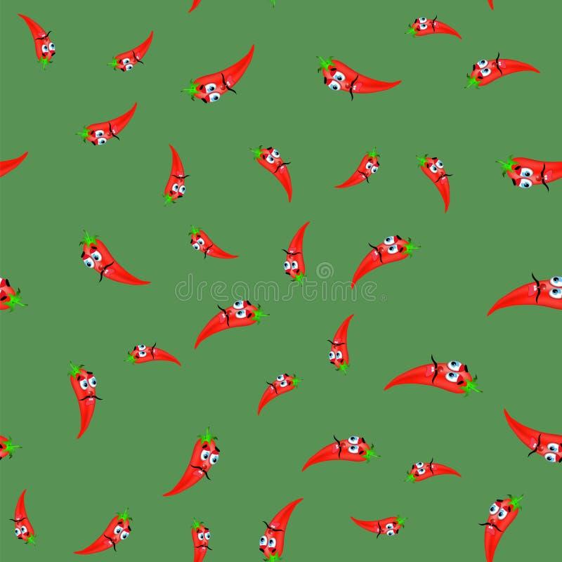 Gorący kreskówka Czerwonych pieprzy Bezszwowy wzór royalty ilustracja