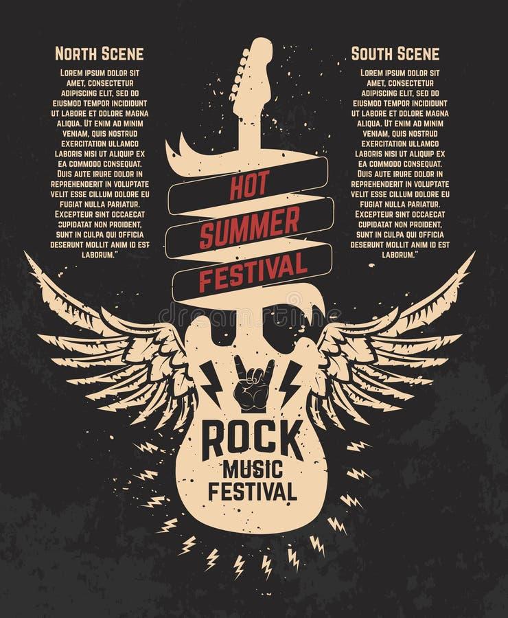 Gorący lato festiwal Guitare z skrzydłami Muzyka rockowa festiwal de royalty ilustracja