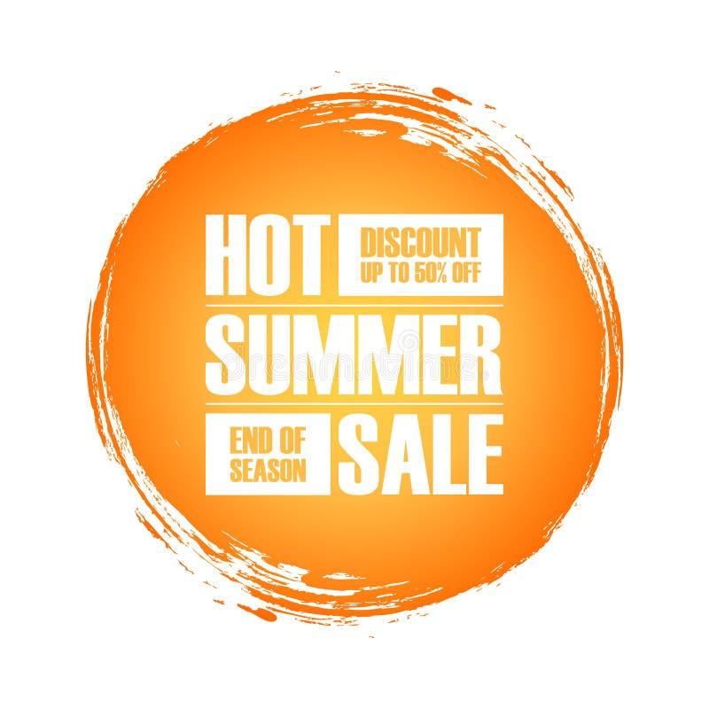 Gorący lato sprzedaży specjalnej oferty sztandar z szczotkarskim uderzenia tłem dla biznesu, promoci i reklamy, ilustracji