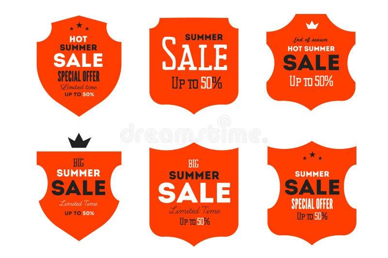 Gorący lato sprzedaży sztandar Retro projektująca typografii etykietka Rocznika teksta majcheru projekt ilustracja wektor