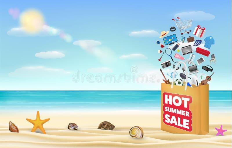 Gorący lato sprzedaży torba na zakupy wiele z produktem unosi się na dennej piasek plaży ilustracji