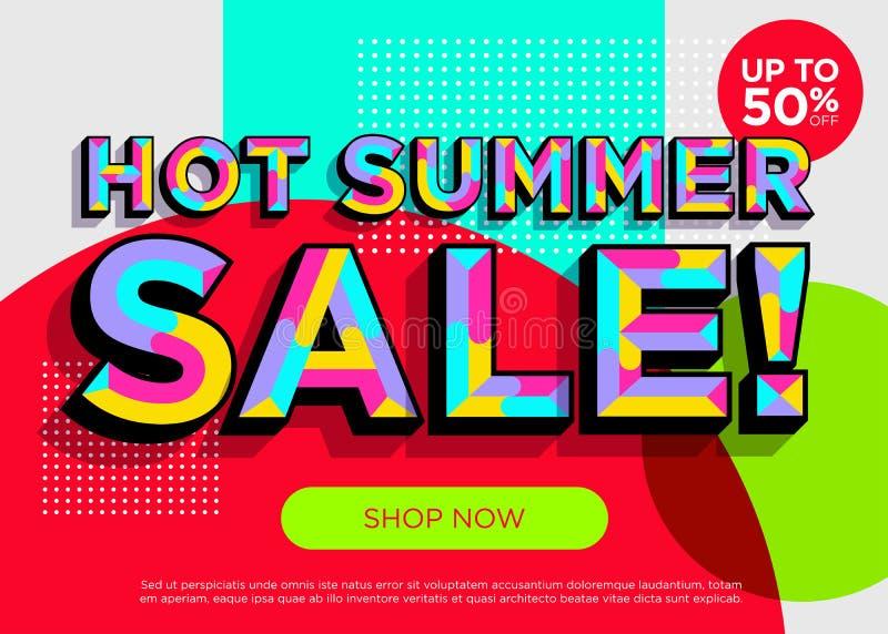 Gorący lato sprzedaży wektoru sztandar Jaskrawa Kolorowa Specjalna oferta royalty ilustracja