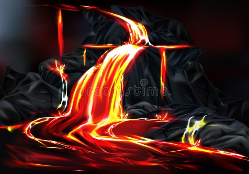 Gorący lawowy przepływ podczas powulkanicznej aktywności wektoru ilustracja wektor