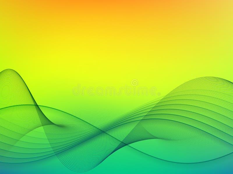 Gorący letni dzień i szaleje morze reprezentujący harmonicznymi liniami ilustracja wektor