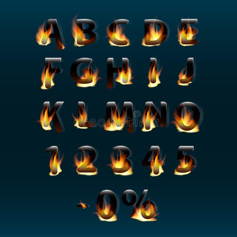 Gorący listy i liczby na ogieniu alfabet Pożarnicza płonąca wektorowa chrzcielnica Część 1 ilustracji