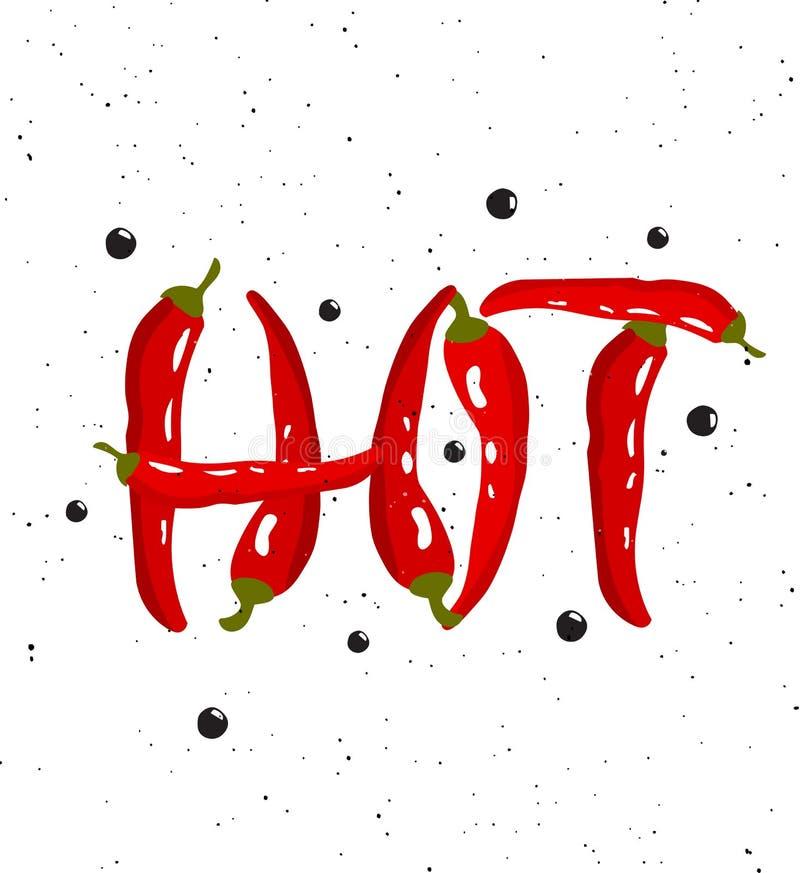 gorący Literowanie z czerwonego chili pieprzami koncepcja ręka szklana powiększyć sprzedaży royalty ilustracja