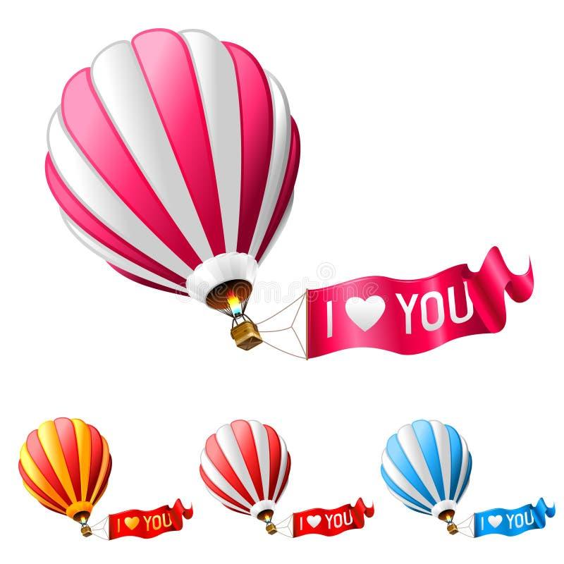gorący lotniczy balon ja kocham ty royalty ilustracja