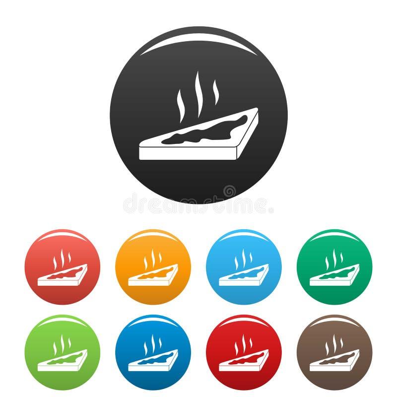 Gorący masło chlebowe ikony ustawiający kolor ilustracji