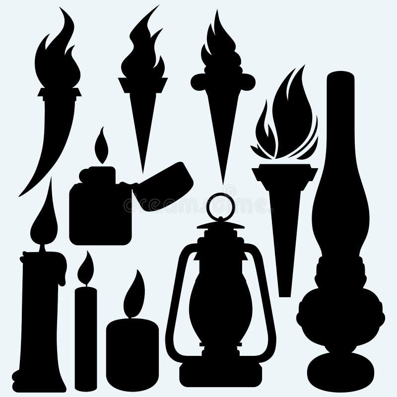 Gorący materiał: świeczka, płonie pochodnie, nafty lampę i metalu zippo zapalniczkę, ilustracja wektor