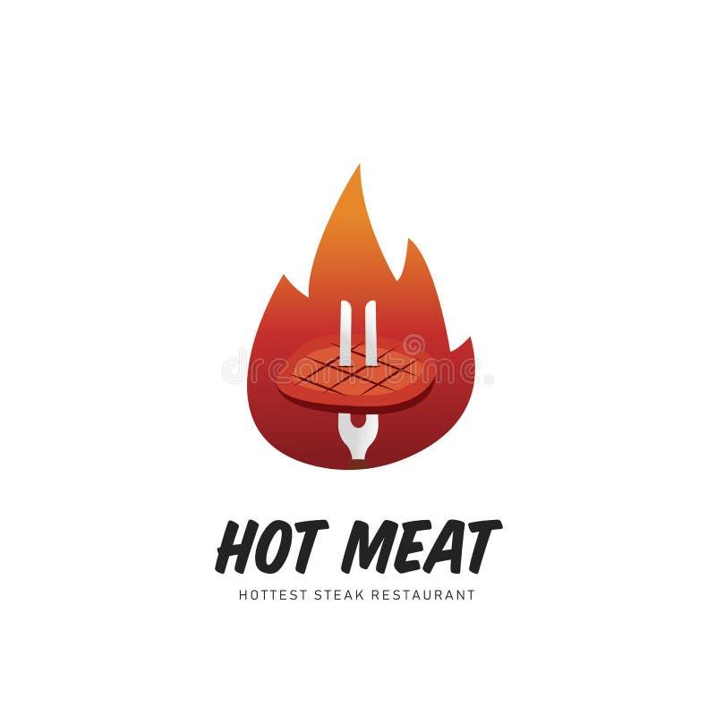 Gorący mięsny grilla stku logo z pożarniczym płomień ilustracji symbolem royalty ilustracja