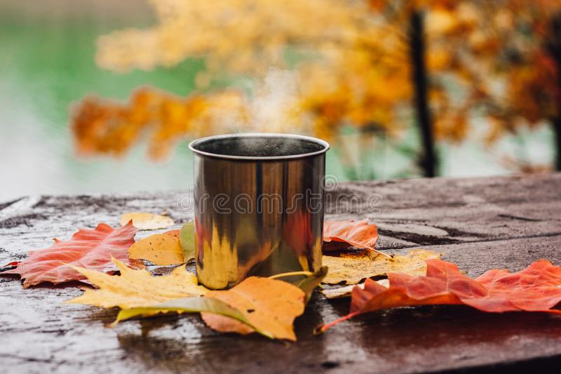 Gorący napój w stalowej filiżance na drewnianym stole Jesieni pomara?cze li?cie obrazy stock