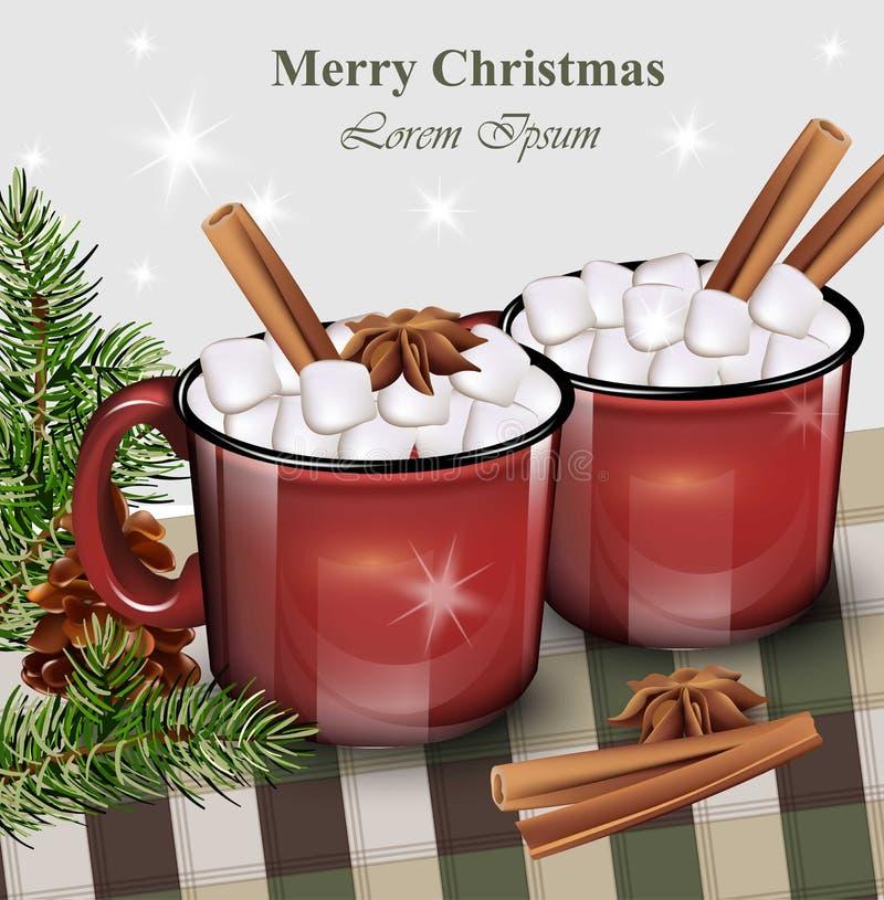 Gorący napój z marshmallow czerwieni filiżankami Wektorowe realistyczne ilustracje ilustracja wektor