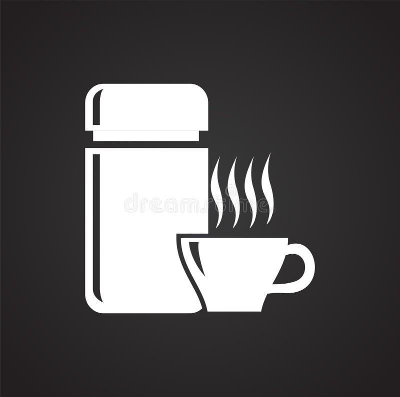 Gorący napój z termos ikoną na czarnym tle dla grafiki i sieci projekta, Nowożytny prosty wektoru znak kolor tła pojęcia, niebies ilustracji
