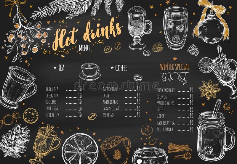 Gorący napój zimy menu Projekta szablon zawiera różna ręka rysującego Brushpen literowanie i ilustracje Napoje, napoje ilustracja wektor