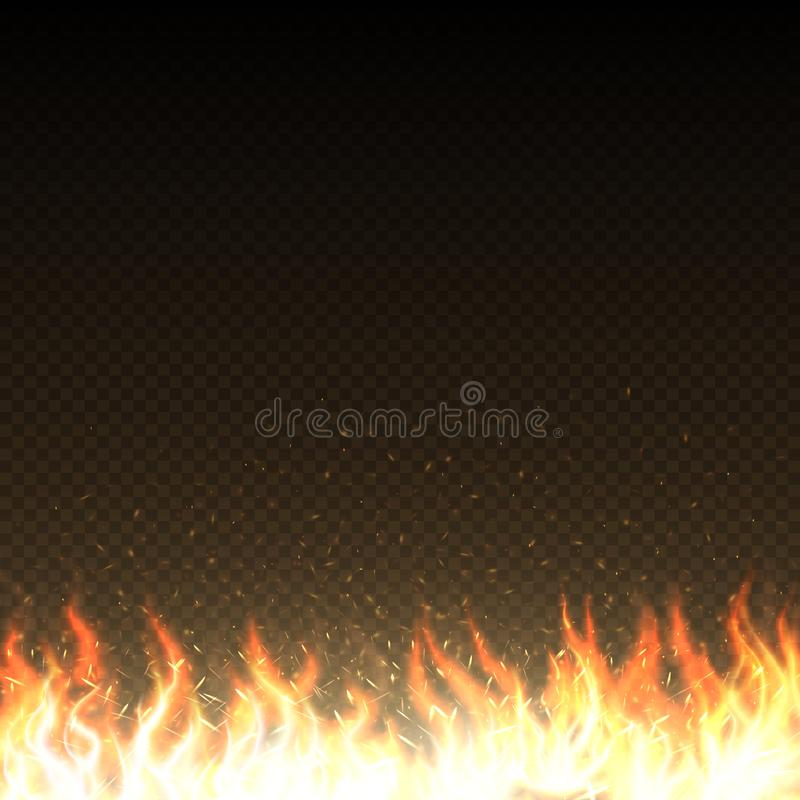 Gorący ogień płonie z jarzyć się iskra odizolowywającego wektorowego szablon ilustracja wektor