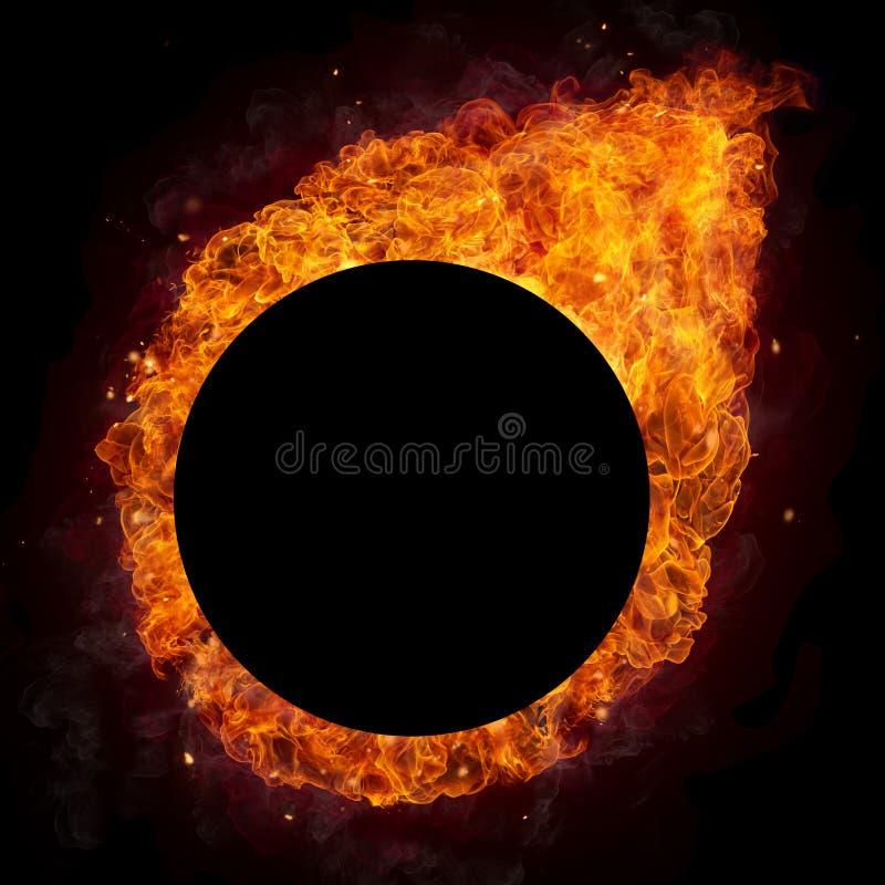 Gorący ogienie płoną w round kształcie royalty ilustracja