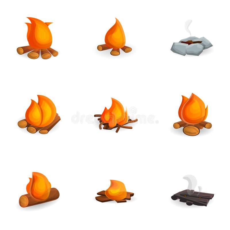 Gorący ognisko ikony set, kreskówka styl ilustracji