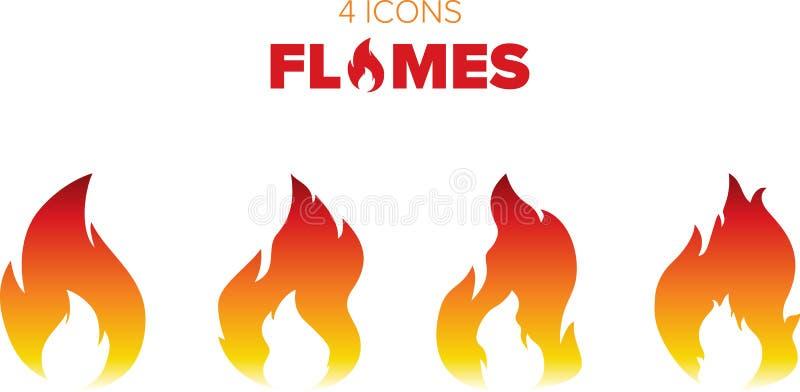 Gorący płomienie i ogień ilustracji