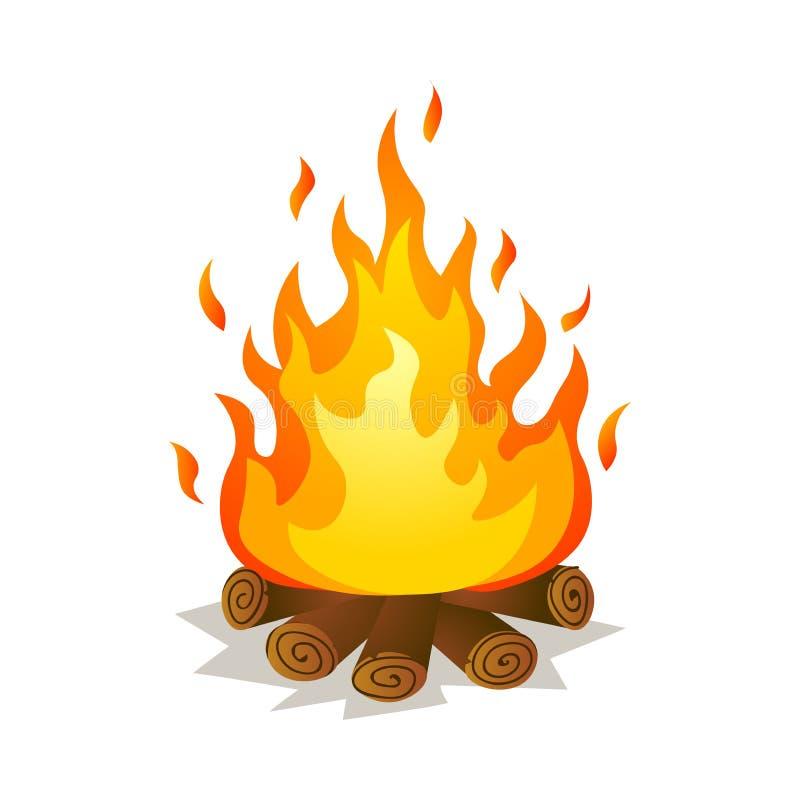 Gorący płonący duży płomienia ognisko z drzewnymi drewnami ilustracja wektor