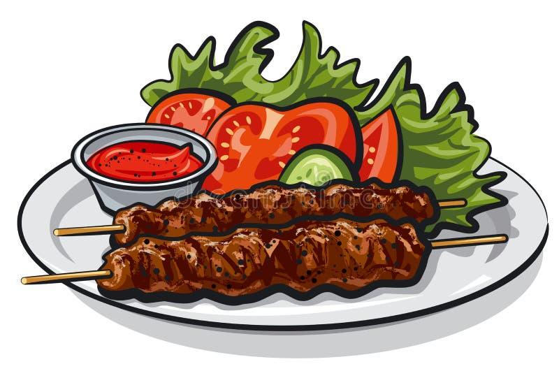 Gorący piec na grillu kebab royalty ilustracja