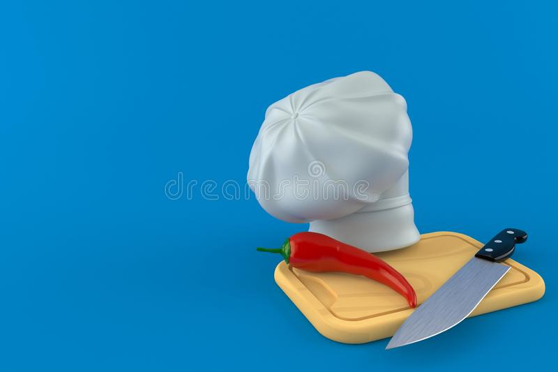 Gorący pieprz z kuchnia szefa kuchni i deski kapeluszem ilustracja wektor