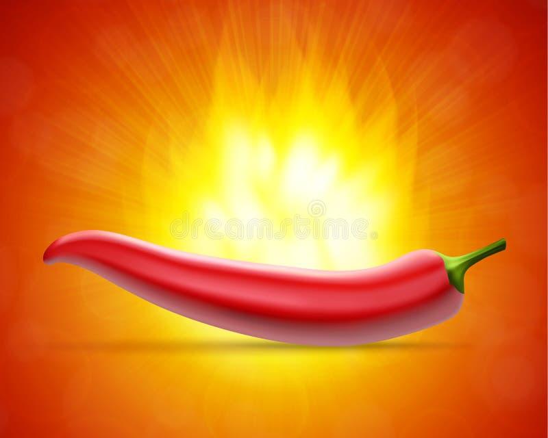 Gorący pieprz z ogieniem ilustracja wektor