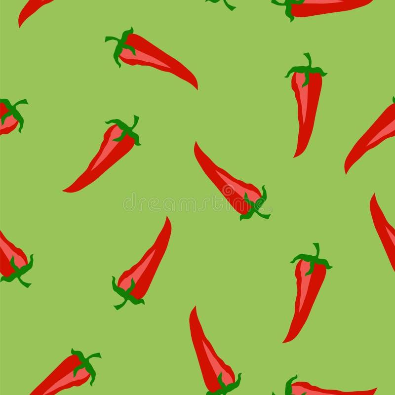Gorący Pieprzowy Bezszwowy wzór ilustracja wektor