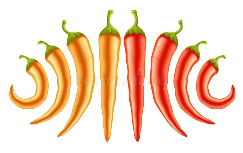 gorący pieprzy czerwieni kolor żółty ilustracji