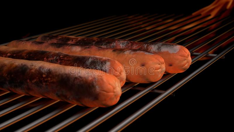 GorÄ…cy pies na grillu obraz royalty free
