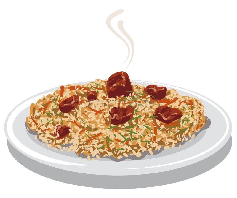 Gorący pilaf z mięsem royalty ilustracja