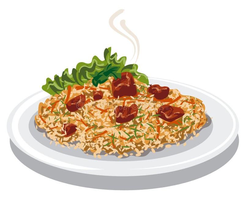Gorący pilaf z ryż ilustracji