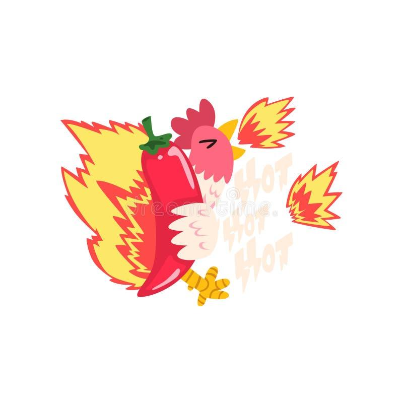 Gorący pożarniczy kurczak z czerwony chili pieprzem, kreatywnie logo projekta szablonu wektor Illustratio ilustracja wektor
