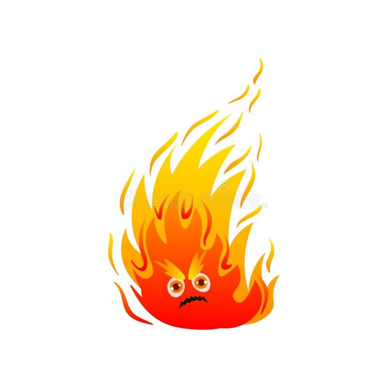 Gorący pożarniczy potwór z ślicznymi oczami i płomieniem długo ilustracji