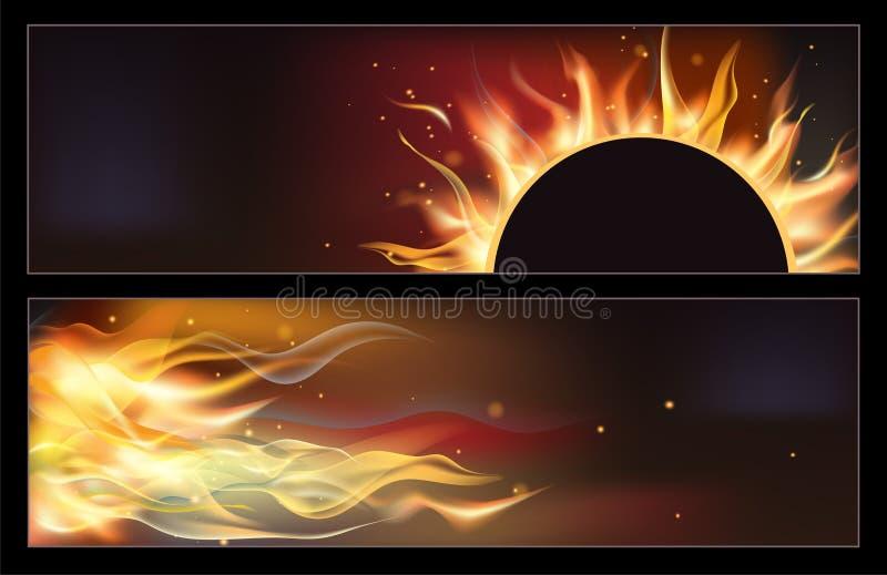 Gorący pożarniczy sztandary ustawiający z pomarańczowymi płomieniami dla twój projekta royalty ilustracja