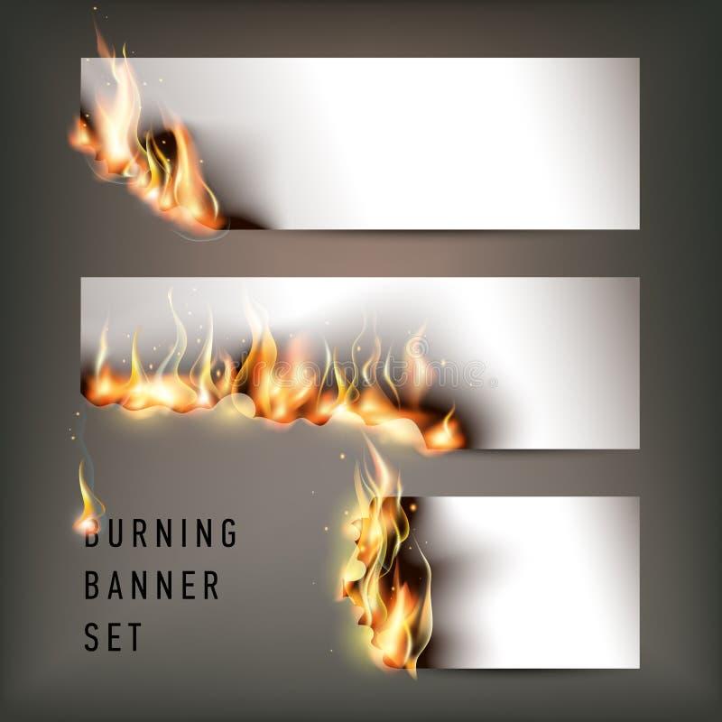 Gorący pożarniczy sztandary ustawiający z pomarańczowymi płomieniami dla twój projekta ilustracja wektor