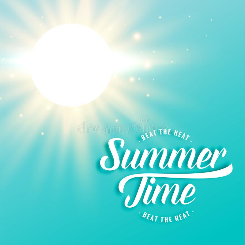 Gorący pogodny lata tło z jaskrawymi słońce promieniami royalty ilustracja