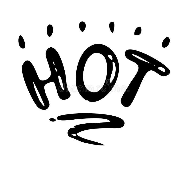 Gorący - ręka rysujący tekst Modny r?ki literowanie Kaligrafia odizolowywająca wycena w czarnym atramencie r?wnie? zwr?ci? corel  ilustracji