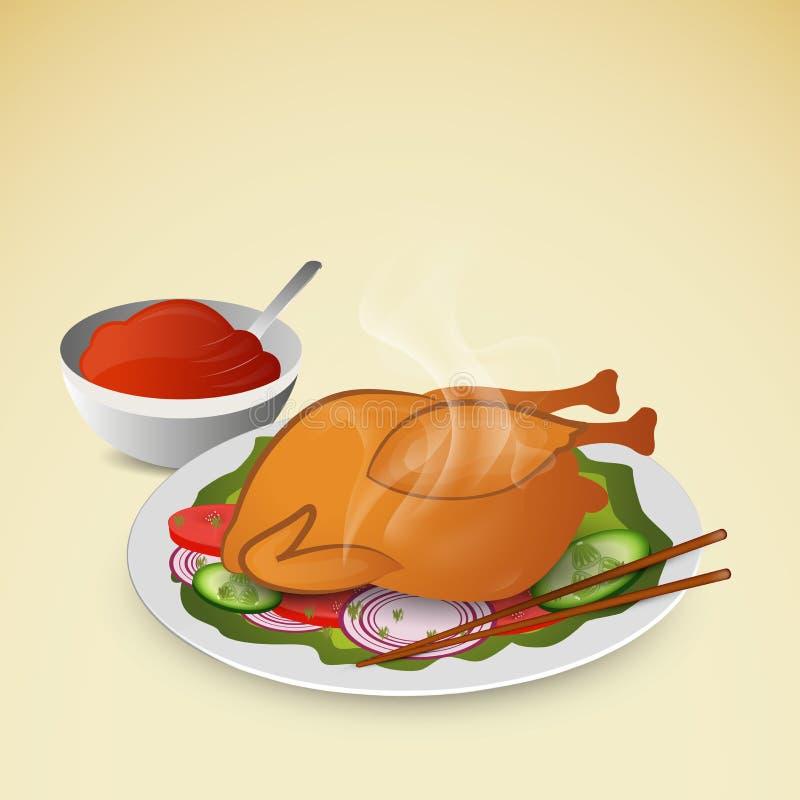 Gorący rosted chicket z sałatkowym i pomidorowym kumberlandem ilustracji