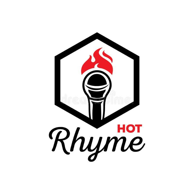 Gorący rymu logo z mikrofonem na ogieniu ilustracja wektor