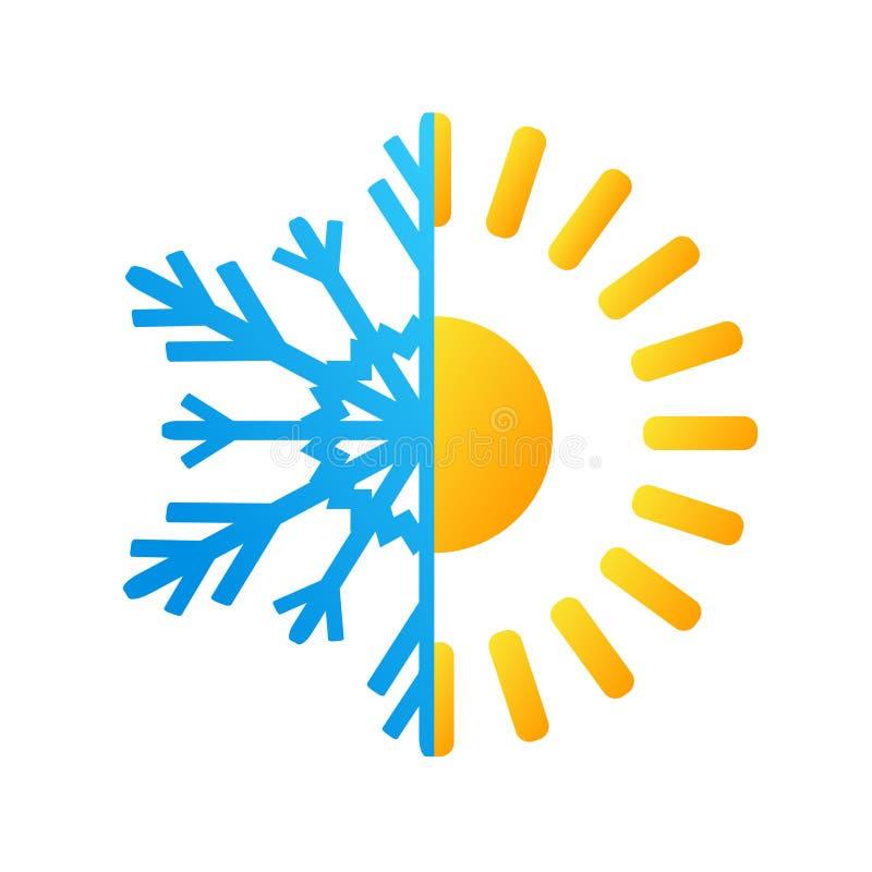 Gorący słońca i mrozu płatka śniegu biznesowy logo, akcyjny wektorowy illustra ilustracji