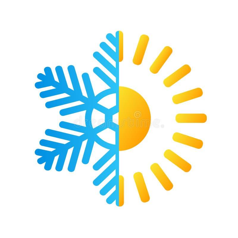 Gorący słońca i mrozu płatka śniegu biznesowy logo, akcyjny wektorowy illustra royalty ilustracja