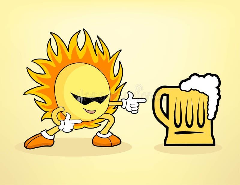 Gorący słońce i zimny piwo ilustracji