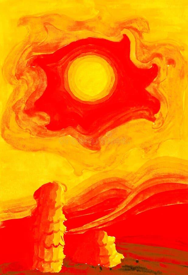 Gorący słońce w żółtym niebie nad gorącą pustynią royalty ilustracja