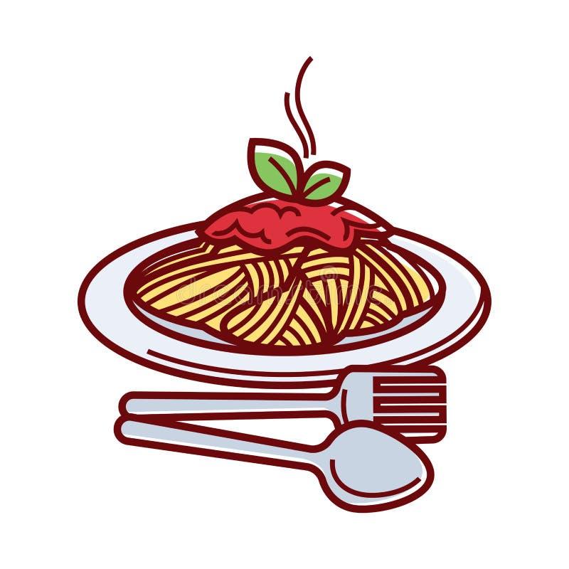 Gorący spaghetti z świeżym pomidorowym kumberlandem na talerzu royalty ilustracja